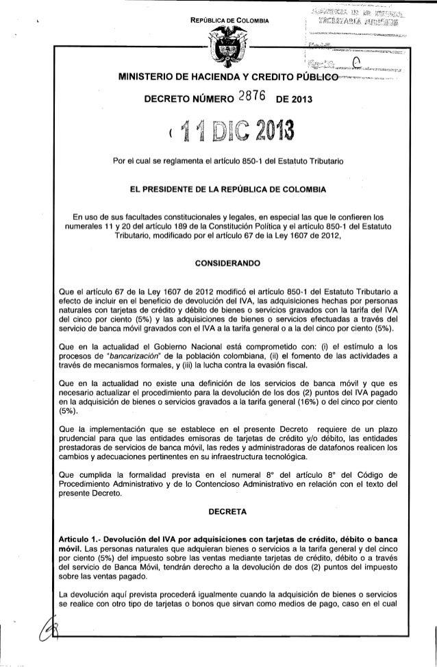 """REPÚBLICA DE COLOMBIA  MINISTERIO DE HACIENDA Y CREDITO PÚBl:lee-"""",-m~~--"""""""",,,~,,,.,w,."""",,,,., ' DECRETO NÚMERO  2876  DE ..."""