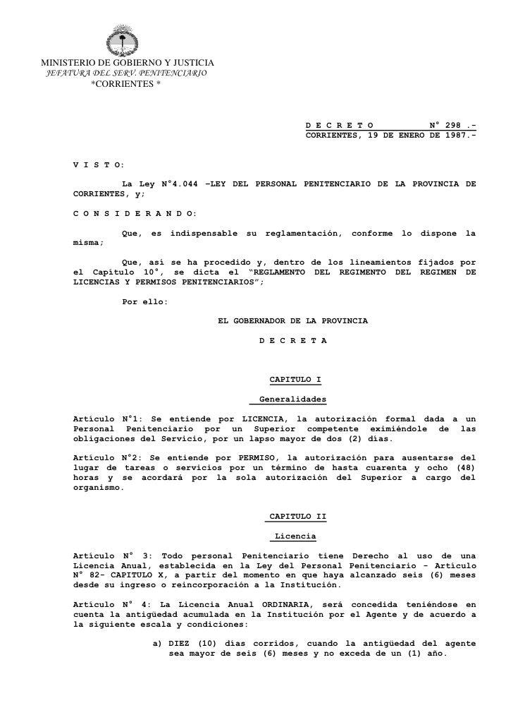 MINISTERIO DE GOBIERNO Y JUSTICIA JEFATURA DEL SERV. PENITENCIARIO         *CORRIENTES *                                  ...