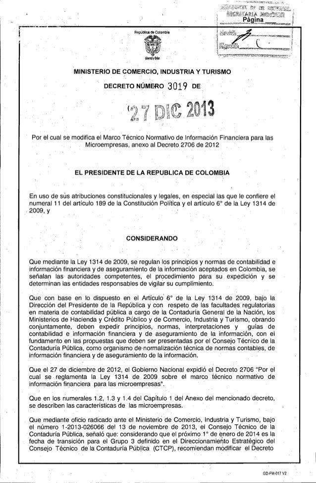 MINISTERIO DE yOMERCIO, INDUSiRIA y TURISMO   DECRETO NOMER03 019 DE   (   Por el cual se modifica el Marco Técnico Normat...