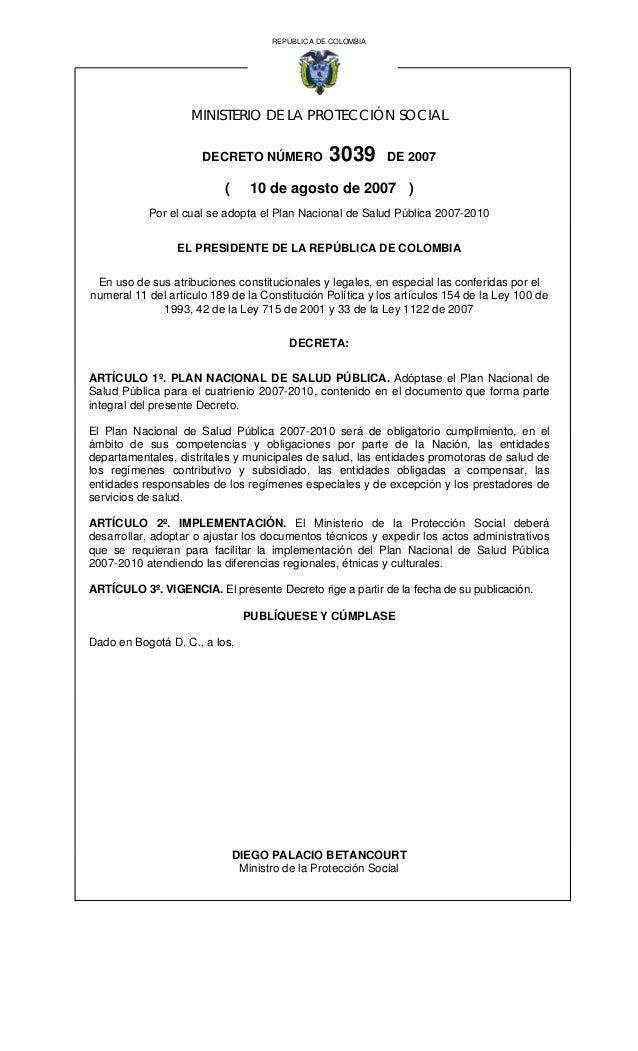 REPÚBLICA DE COLOMBIA                    MINISTERIO DE LA PROTECCIÓN SOCIAL                      DECRETO NÚMERO           ...