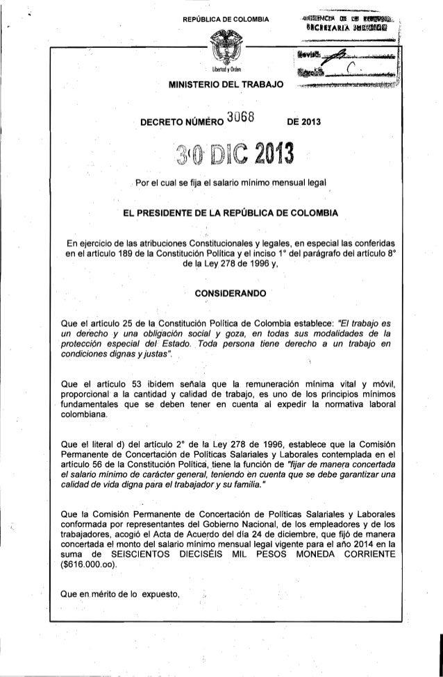 ·_J~C~~ lB  REPÚBLICA DE COLOMBIA  I'C.UARI~  c. '~,l, ailKIJlIOIsl  libertad VOrden  MINISTERIO DEL TRABAJO  DECRETO NÚME...