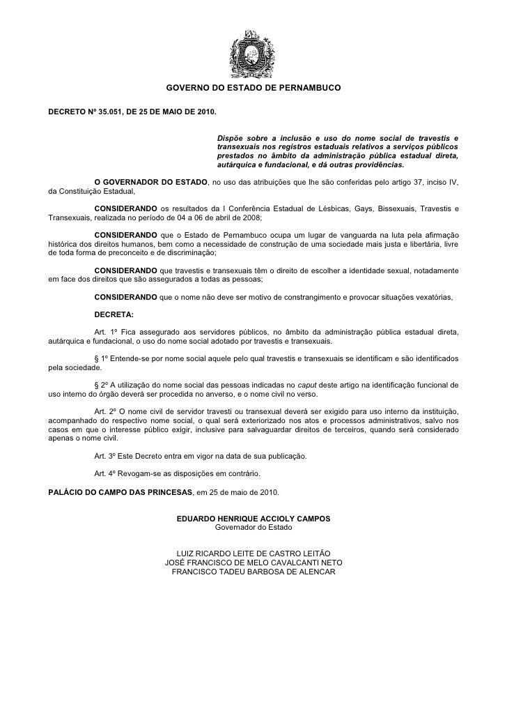 GOVERNO DO ESTADO DE PERNAMBUCODECRETO Nº 35.051, DE 25 DE MAIO DE 2010.                                                 D...