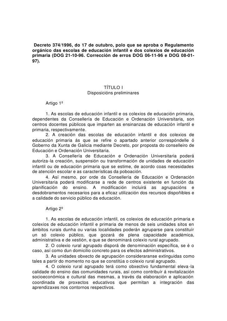 Decreto 374/1996, do 17 de outubro, polo que se aproba o Regulamento orgánico das escolas de educación infantil e dos cole...