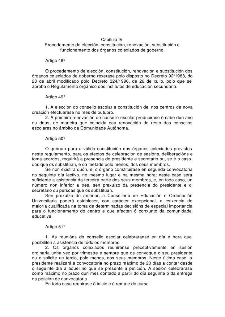 Capítulo IV       Procedemento de elección, constitución, renovación, substitución e             funcionamento dos órganos...