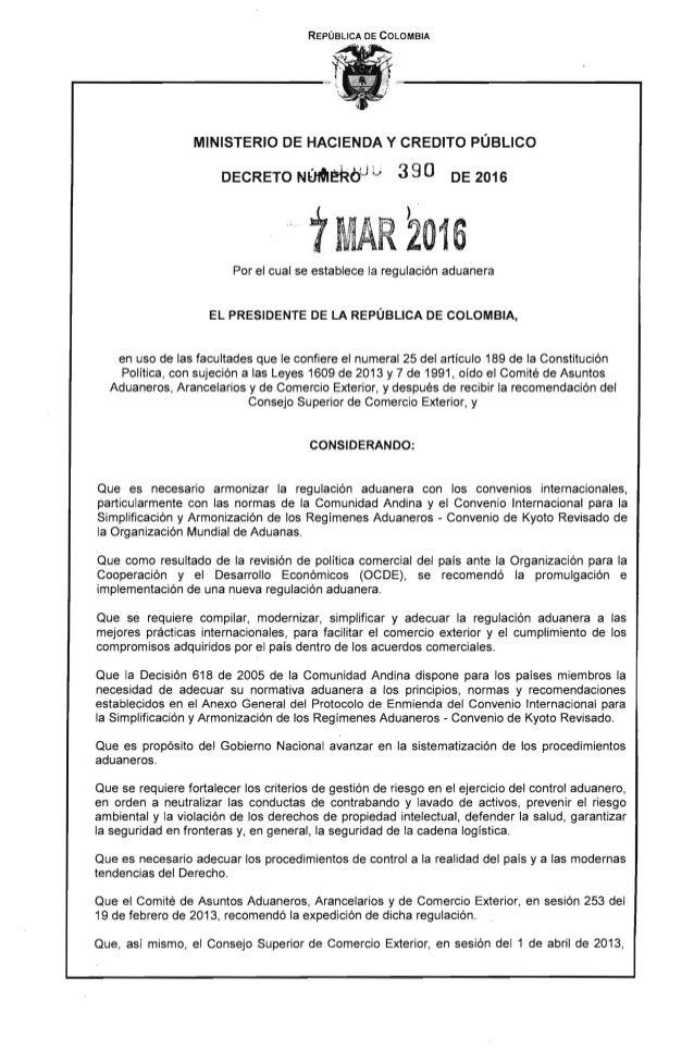 REPÚBLICA DE COLOMBIA MINISTERIO DE HACIENDA Y CREDITO PÚBLICO DECRETO NÚIOII~i:WJ L. 390 DE 2016 7MAR 2016 Por el cual se...