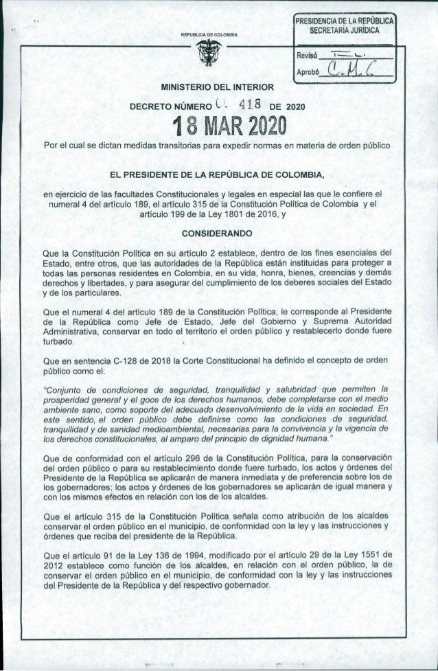 """PRESIDENCIA DE LA REPÚBLICA SECRETARíA JURíDICA"""" REPUBLICA DE COLOMBIA • Revisó Aprobó --~. MINISTERIO DEL INTERIOR DECRET..."""