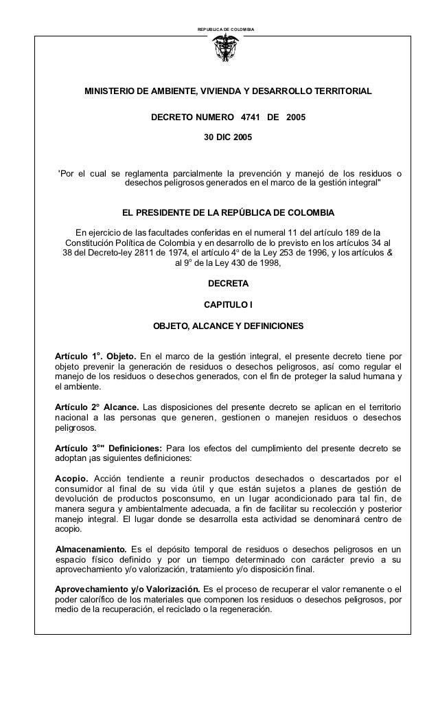 REPUBLICA DE COLOMBIA                                               I       MINISTERIO DE AMBIENTE, VIVIENDA Y DESARROLLO ...