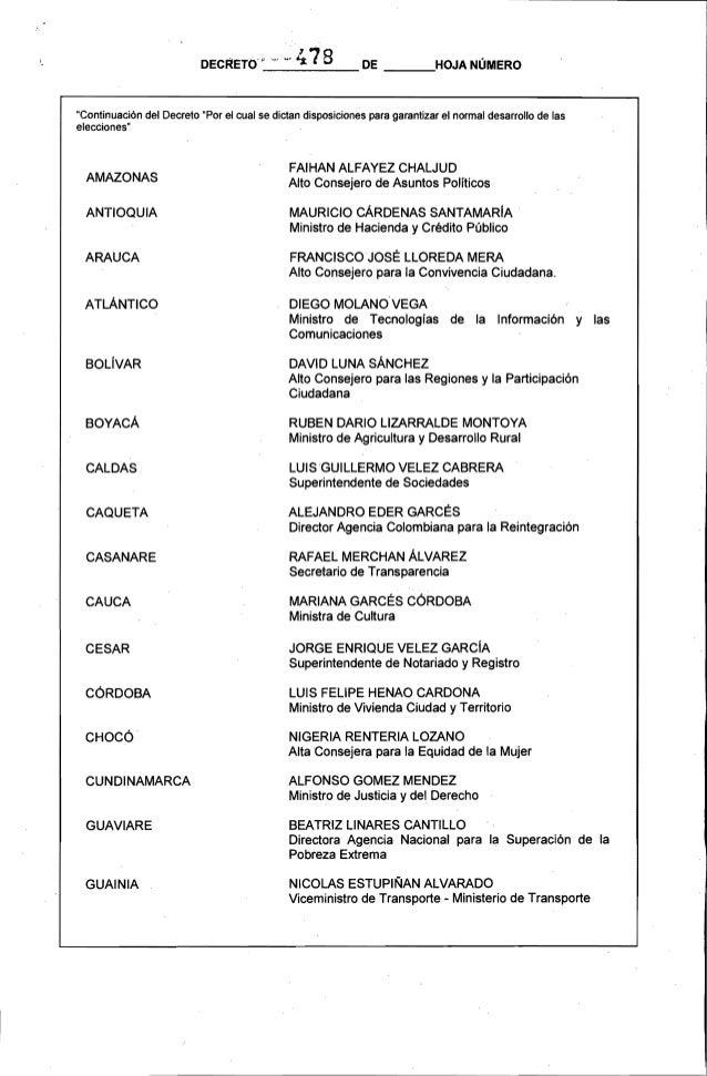 Decreto 478 del 05 de marzo de 2014 for Decreto ministerio del interior