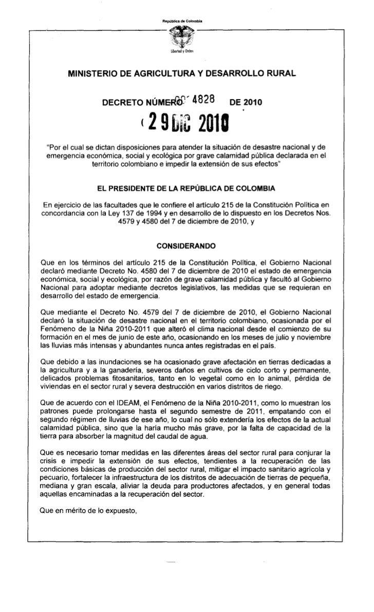 República de Colombia                                           l.ioorladyOrden         MINISTERIO      DE AGRICULTURA    ...