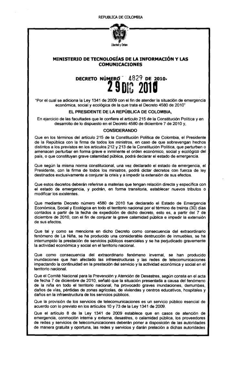 REPUBUCA   DE COLOMBIA          MINISTERIO DE TECNOLOGÍAS DE LA INFORMACIÓN Y LAS                           COMUNICACIONES...