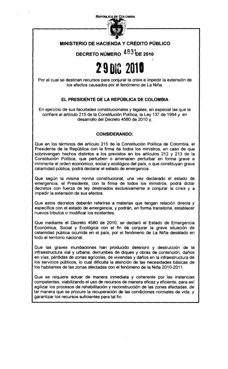 MINISTERIO DE HACIENDA Y CRÉDITO PÚBLICO                      DECRETO NÚMERO 483bE                2010                    ...