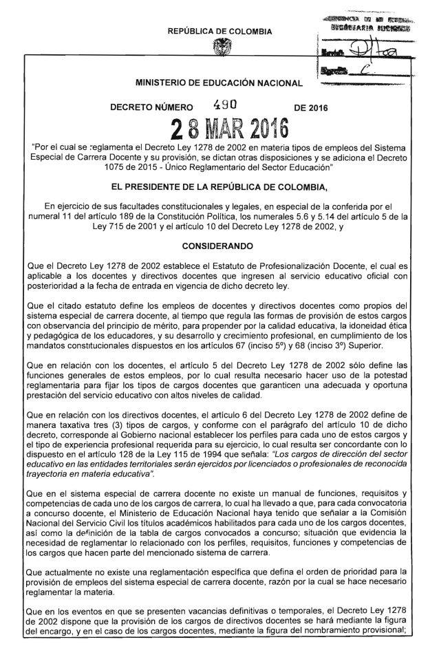d~aj; rn .. ~1~~b M~~n;¡;ARt~ .~ REPÚBLICA DE COLOMBIA MINISTERIO DE EDUCACiÓN NACIONAL ·11. ,;;{{n.acSJ,. t ; DECRETO NÚ'...