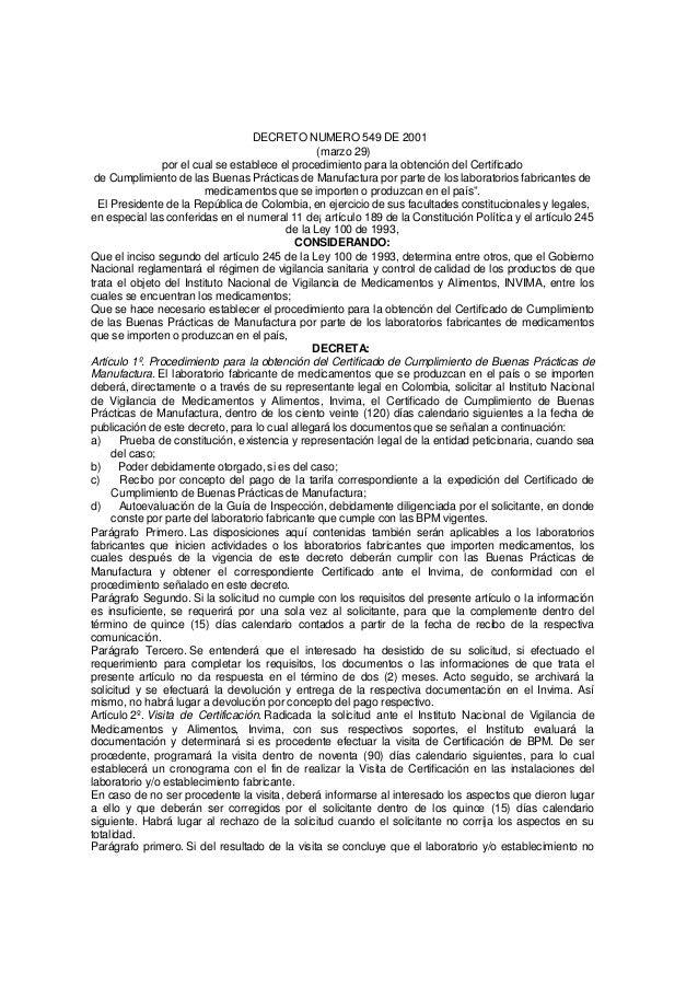 DECRETO 549 DE 2001 PDF DOWNLOAD