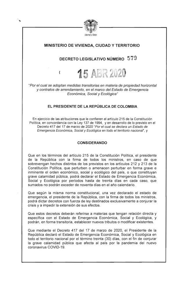 """Libertad yOrden MINISTERIO DE VIVIENDA, CIUDAD Y TERRITORIO DECRETO LEGISLATIVO NÚME,RO 579 """"Por el cual se adoptan medida..."""