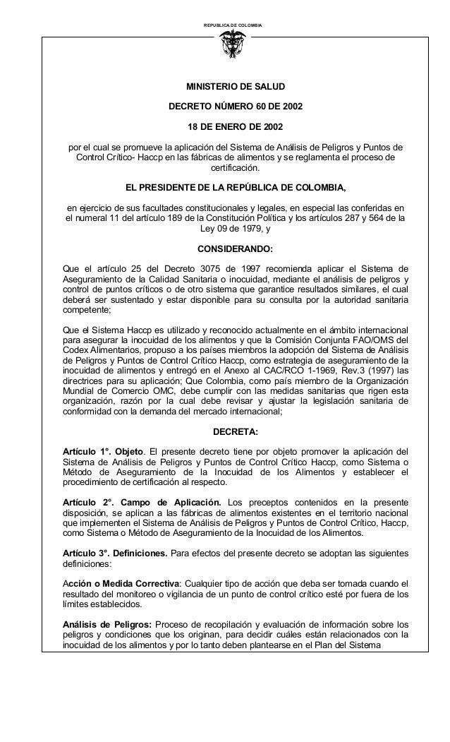 MINISTERIO DE SALUD DECRETO NÚMERO 60 DE 2002 18 DE ENERO DE 2002 por el cual se promueve la aplicación del Sistema de Aná...
