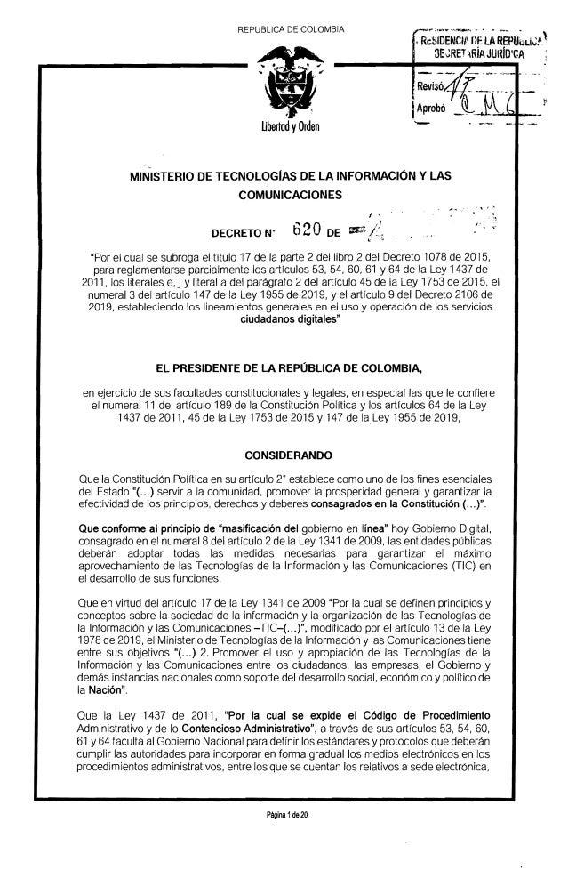 "REPUBLlCA DE COLOMBIA ! 'R;tiioE�C;'OE""lAREP�~Li~f' SE~RET 'R�A JUH�01CA IAprob� Ubertod yOrden ' � , ., MINISTERIO DE TEC..."