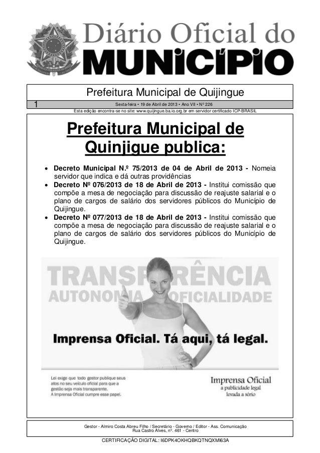 Prefeitura Municipal de Quijingue1                                Sexta-feira • 19 de Abril de 2013 • Ano VII • Nº 226    ...