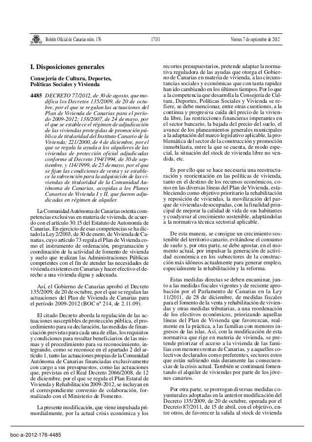Boletín Oficial de Canarias núm. 176  I. Disposiciones generales Consejería de Cultura, Deportes, Políticas Sociales y Viv...