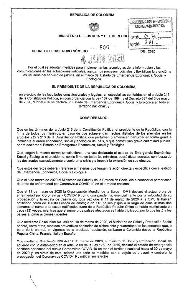 ,  REPÚBLICA DE COLOMBIA Por el cual se adoptan medidas para implementar las tecnologías de la información y las comunicac...