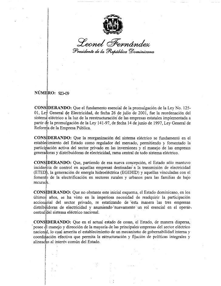 Decreto 923 09 Liderazgo Y Coordinacion Empresas Electricas
