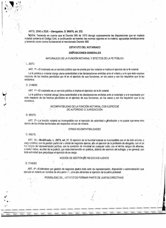 ','1, , ' ARTS. 2546 a 2636.-Derogéidos. 0.960/10, árt. 232. ;'NOTA: Teniendo en cuenta que e1 Decreto 960 de 1970 derogó ...