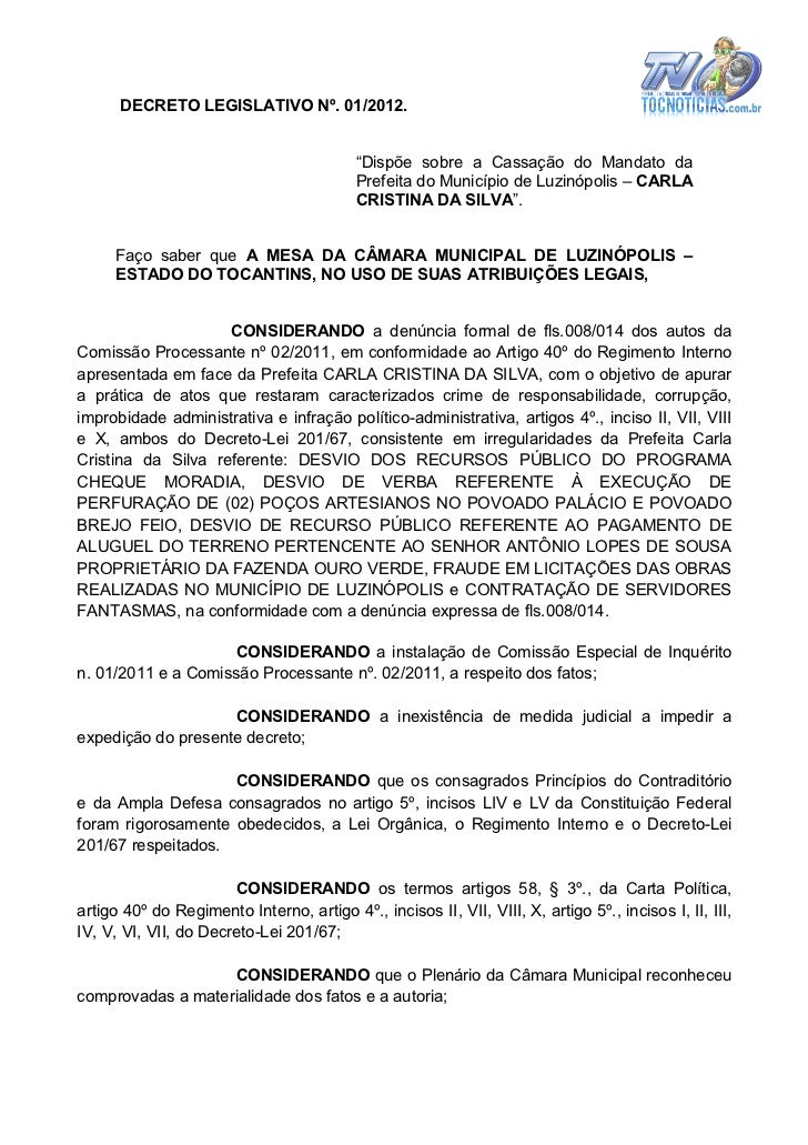 """DECRETO LEGISLATIVO Nº. 01/2012.                                           """"Dispõe sobre a Cassação do Mandato da         ..."""