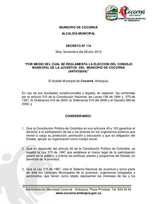 MUNICIPIO DE COCORNÁ                             ALCALDÍA MUNICIPAL                                DECRETO Nº 114         ...