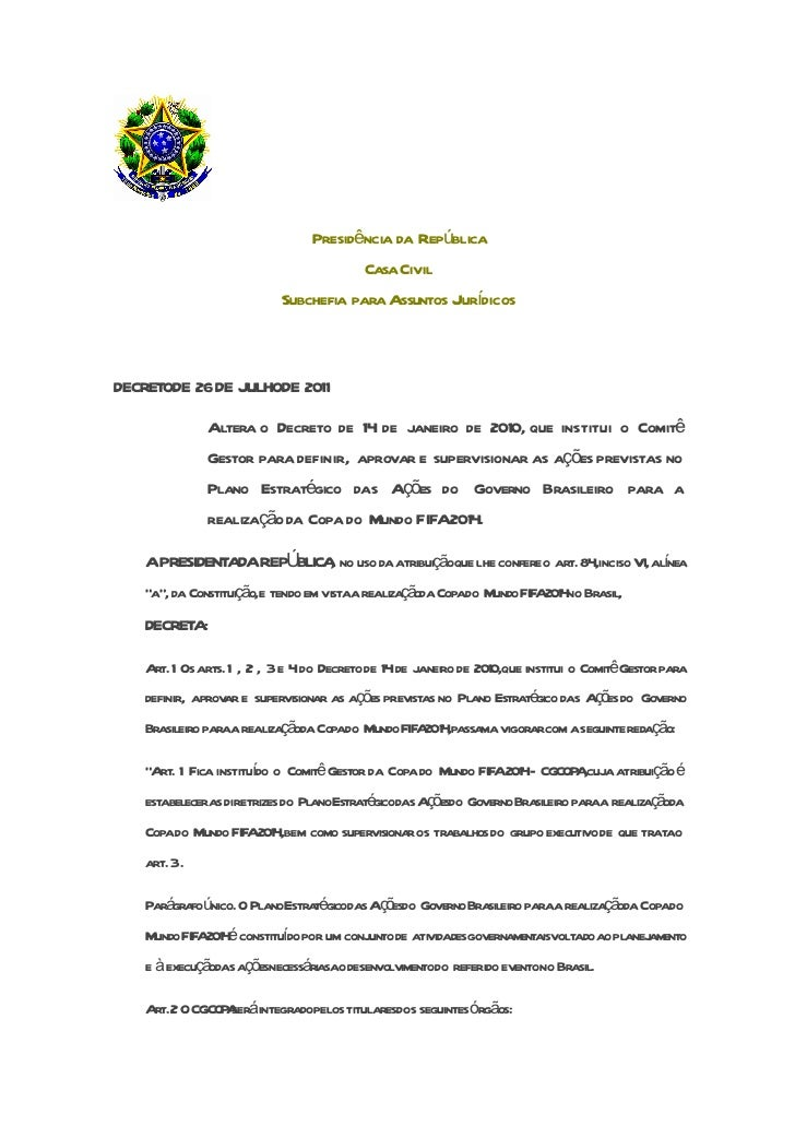 Presidência da República                                          CasaCivil                           Subchefia para Assun...