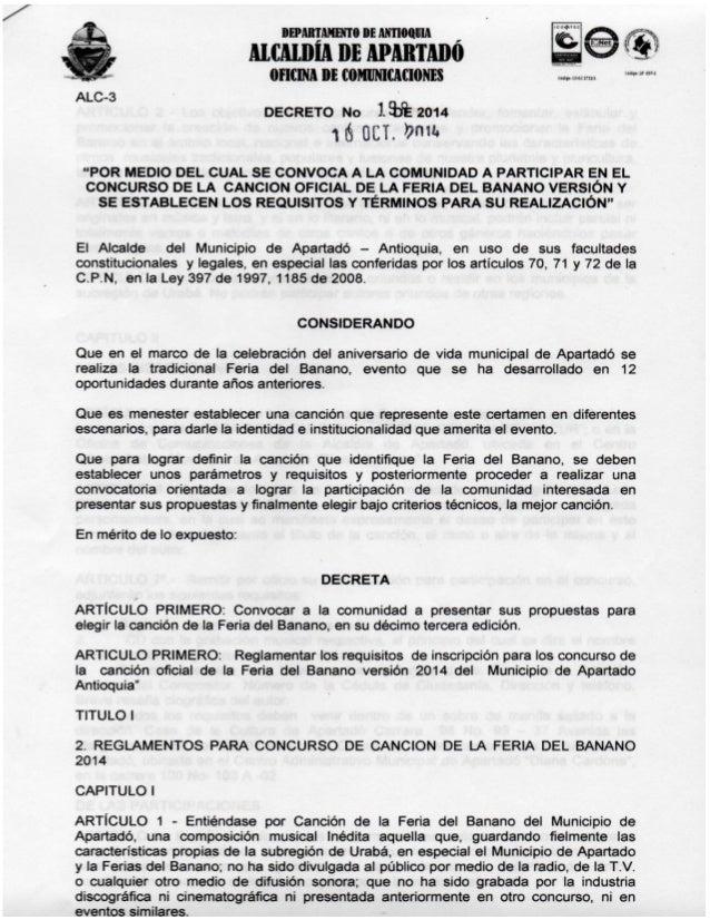 """IDAITAHHIO DE AIITIMUIA  MCMDÍA DE APARTMIÕ 0mm n¡ cnmimucmm  aq:  mn um  DECRETO No 193952014 16 GET.  »ma  """"POR MEDIO DE..."""