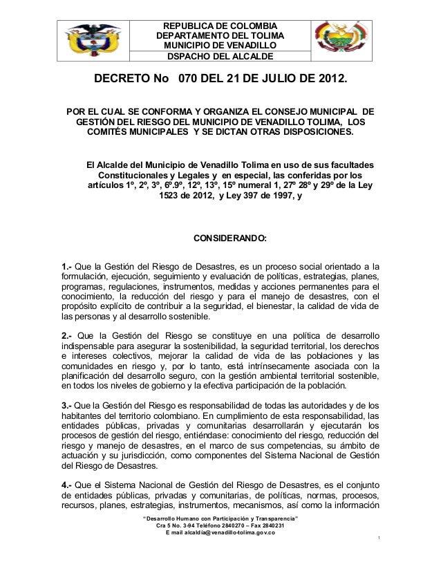 REPUBLICA DE COLOMBIA                         DEPARTAMENTO DEL TOLIMA                          MUNICIPIO DE VENADILLO     ...