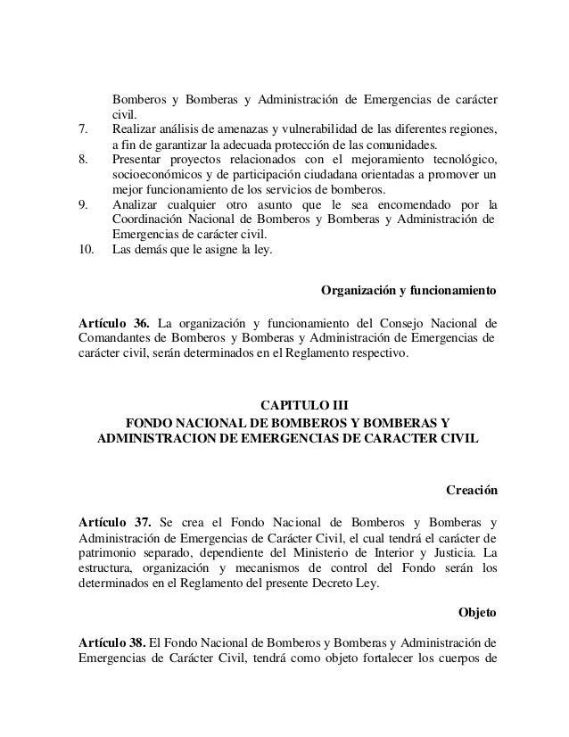 Decreto con fuerza de ley de los cuerpos de bomberos y