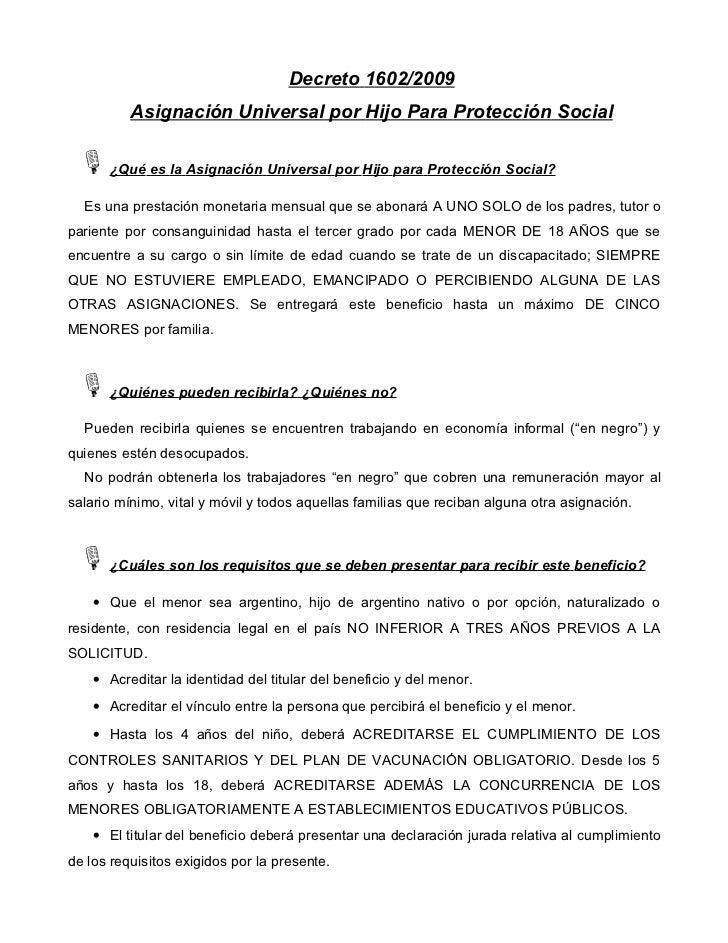 Decreto 1602/2009          Asignación Universal por Hijo Para Protección Social ±¿Qué es la Asignación Universal por Hijo ...