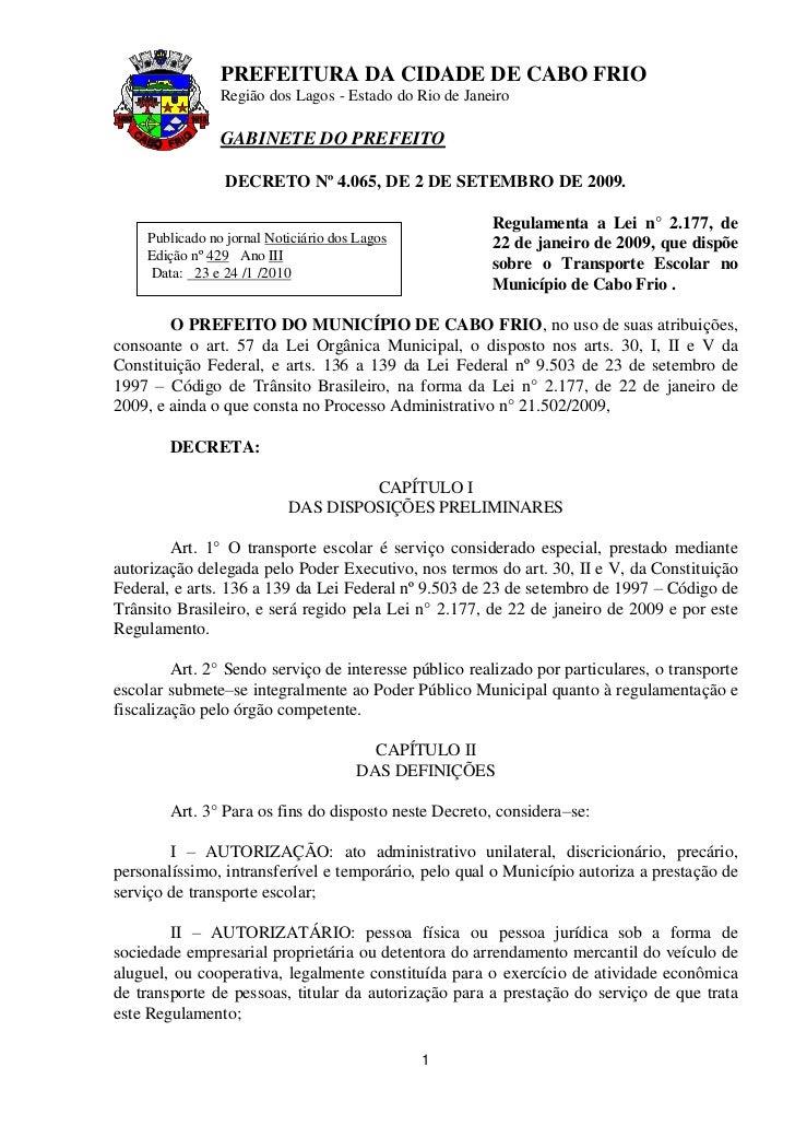 PREFEITURA DA CIDADE DE CABO FRIO                 Região dos Lagos - Estado do Rio de Janeiro                 GABINETE DO ...