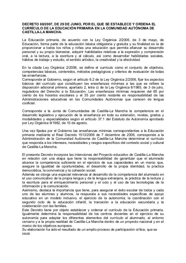 DECRETO 68/2007, DE 29 DE JUNIO, POR EL QUE SE ESTABLECE Y ORDENA EL CURRÍCULO DE LA EDUCACIÓN PRIMARIA EN LA COMUNIDAD AU...