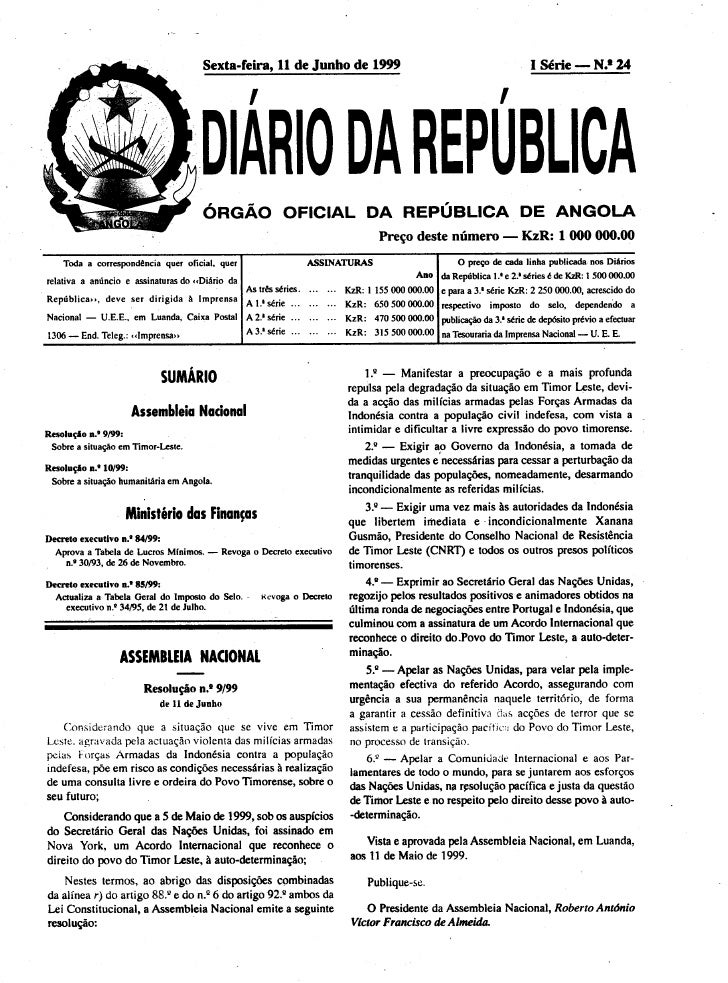 Decreto executivo 85 99 (imposto de selo)