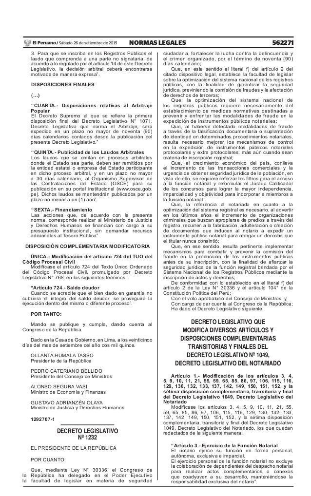 562271NORMAS LEGALESSábado 26 de setiembre de 2015El Peruano / 3. Para que se inscriba en los Registros Públicos el laudo ...