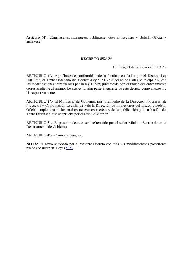 Decreto ley 8751 for Decreto ministerio del interior