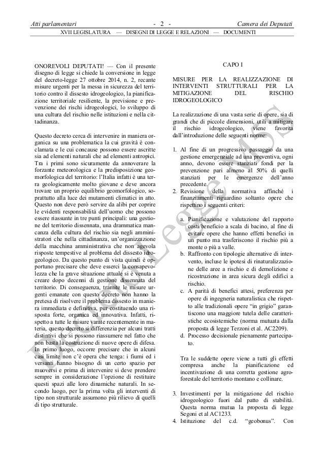 Decreto m5s sulla prevenzione del dissesto idrogeologico for Atti parlamentari camera
