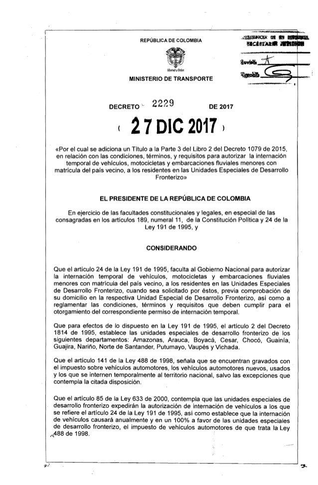 """REP�BLICA DE COLOMBIA ..._G~:::::.-_ro+-_   .~~====~~"""" Uberlod yOrden MINISTERIO DE TRANSPORTE 2229DECRETO """" DE 2017 ( 27o..."""