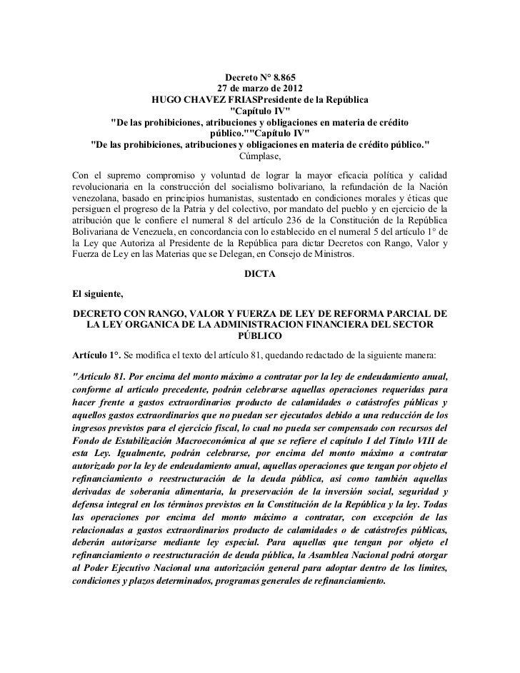 Decreto N° 8.865                                   27 de marzo de 2012                  HUGO CHAVEZ FRIASPresidente de la ...