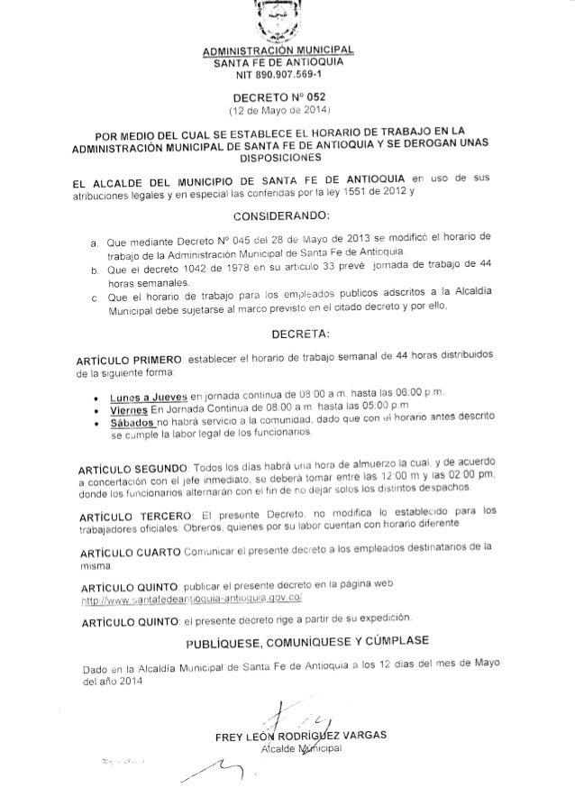 Decreto n° 052. horario de trabajo