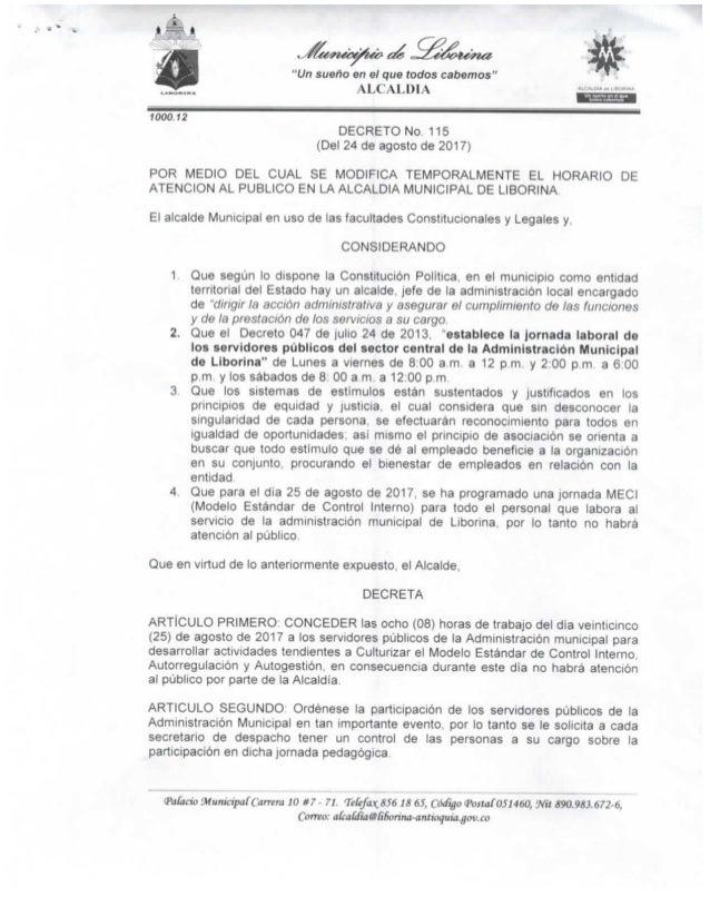 Decreto nº 115 (del 24 de agosto de 2017) 1988