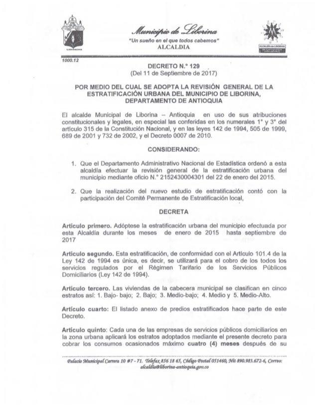Decreto nº 129 estratificación u (del 11 de septiembre de 2017) 2280
