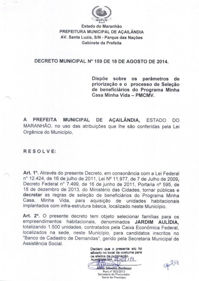 í? )  Estado do Maranhão PREFEITURA MUNICIPAL DE AÇAILÂNDIA  AV.  Santa Luzia,  S/ N - Parque das Nações Gabinete da Prefe...