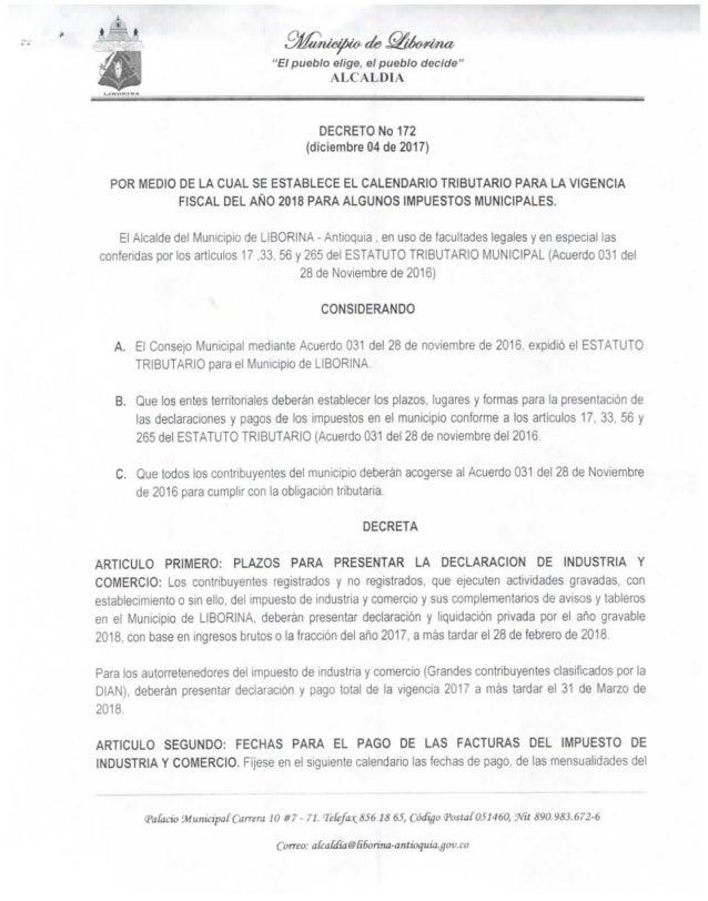 Decreto nº 172 calendario tributar (del 04 de diciembre de 2017)20171218 2697