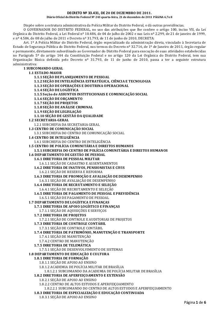 DECRETO Nº 33.431, DE 20 DE DEZEMBRO DE 2011.                     Diário Oficial do Distrito Federal Nº 243 quarta-feira, ...