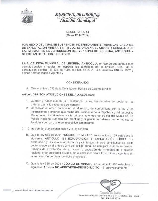 MUN1CIPIODE LIBORINA jL</)e'>f(í'j'<>//<< ('{</) ('{/(/('«((«I Alcaldía Municipal DECRETO No. 43 (Mayo 12 de 2014) POR MED...
