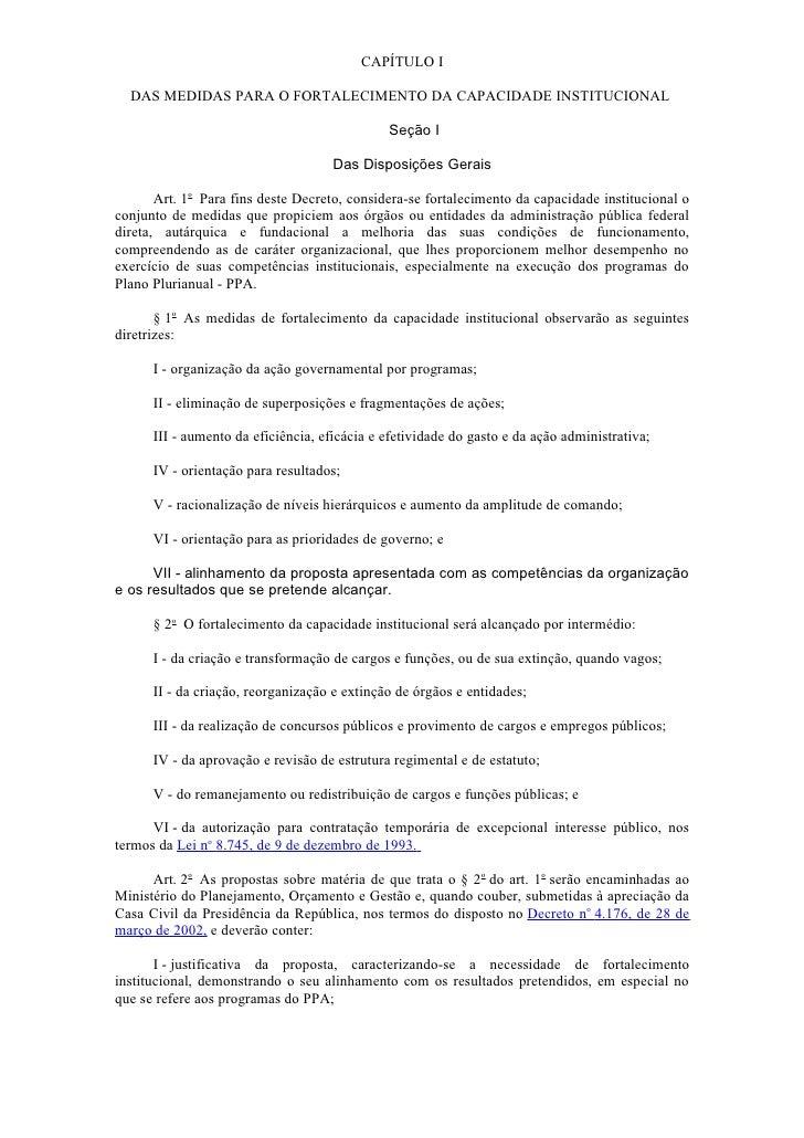 CAPÍTULO I  DAS MEDIDAS PARA O FORTALECIMENTO DA CAPACIDADE INSTITUCIONAL                                              Seç...