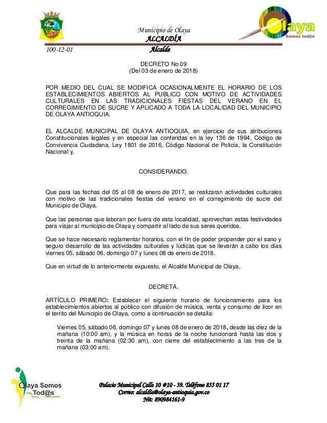 Municipio de Olaya ALCALD�A 100-12-01 Alcalde Palacio Municipal Calle 10 #10 - 39. Tel�fono 855 01 17 Correo: alcald�a@ola...