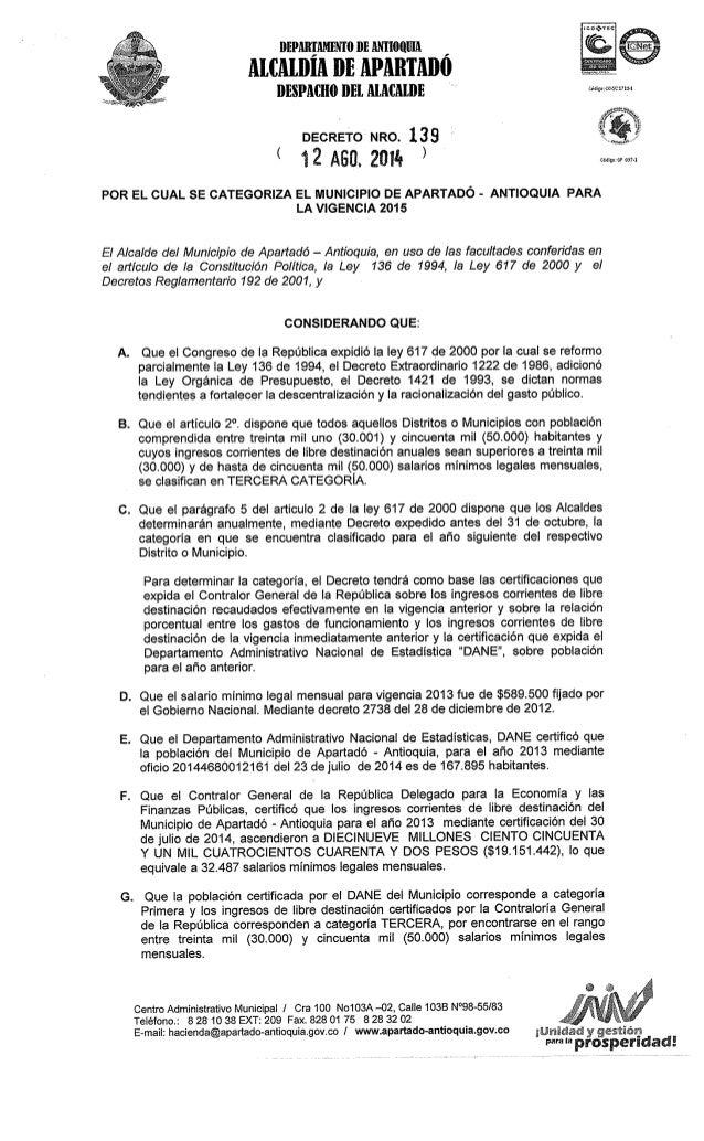 DECRETO No 139 DE AGO.12 DE 2014